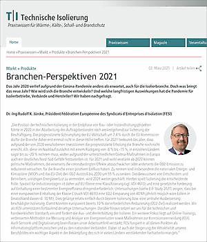 Dr.-Ing Rudolf K. Jürcke, President FESI: Industry perspectives 2021 FESI – European Federation of Associations of Insulation Contractors